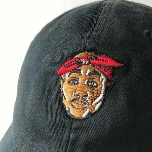 🔥 BLACK TUPAC STRAP BACK DAD HAT RARE CAP